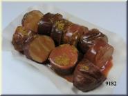 Currywurst rot geschnitten